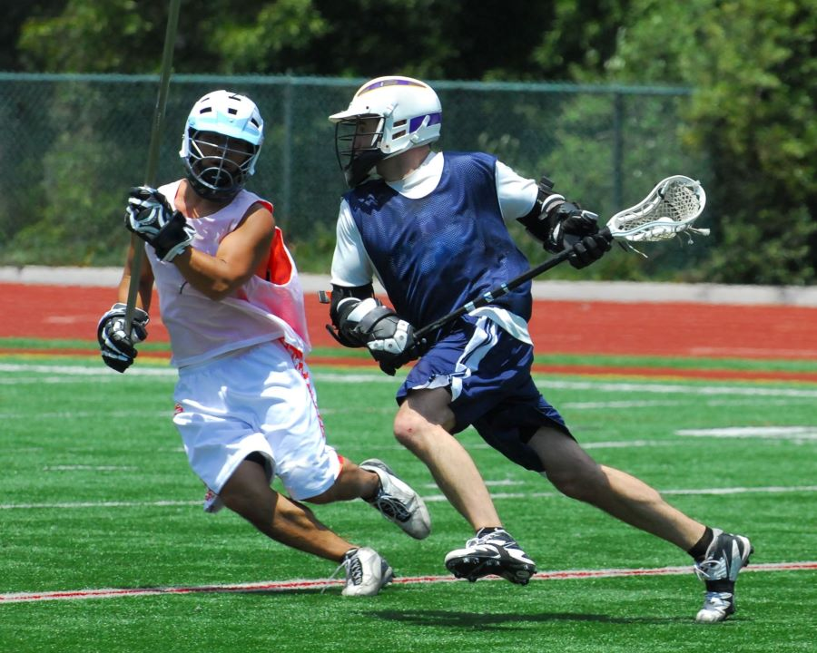 lacrosse midfielders during a match