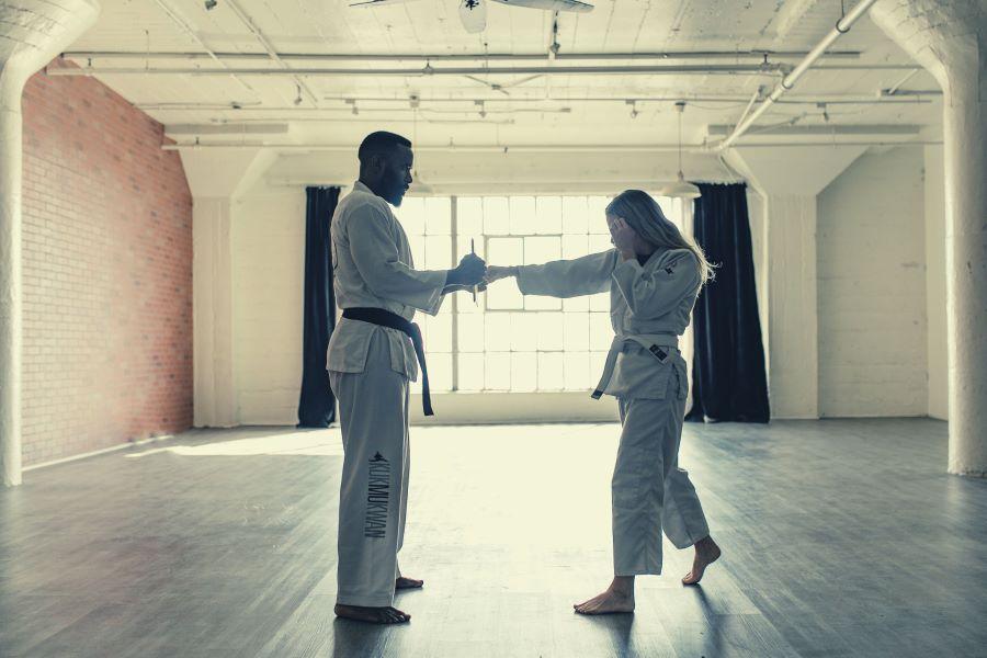 Karate training in a modern-style dojo