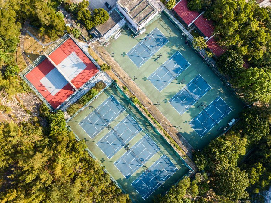 Is tennis a team sport - tennis club aerial view