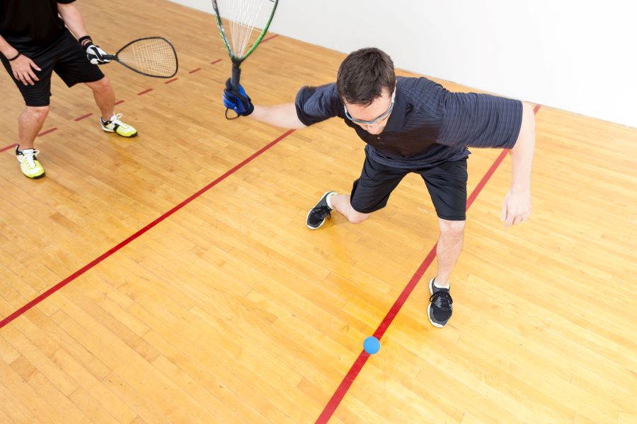 Game of racquetball with two players