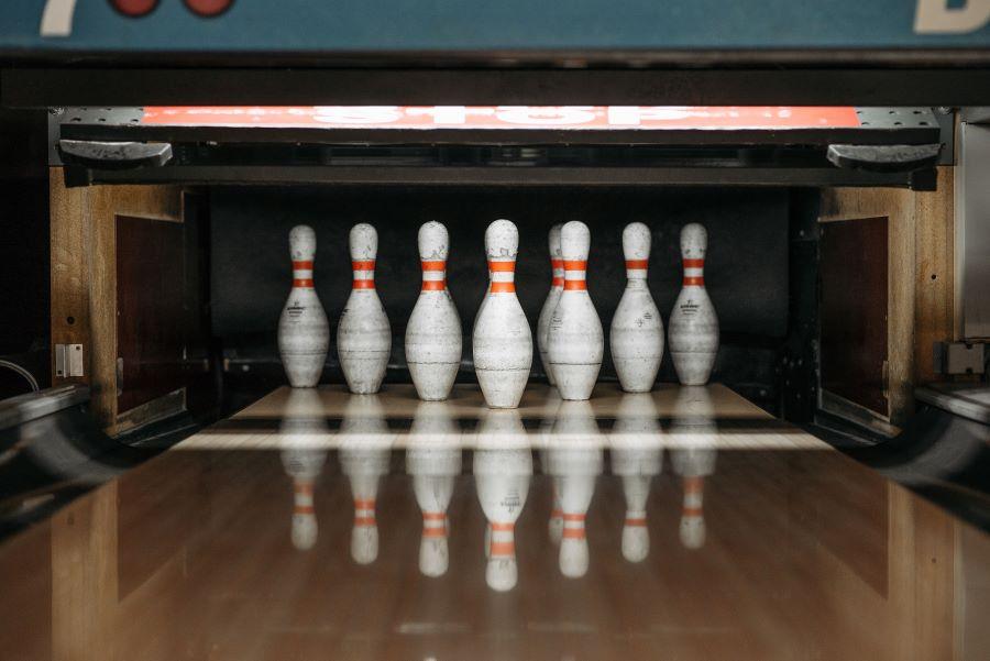 Bowling pins set up on a lane