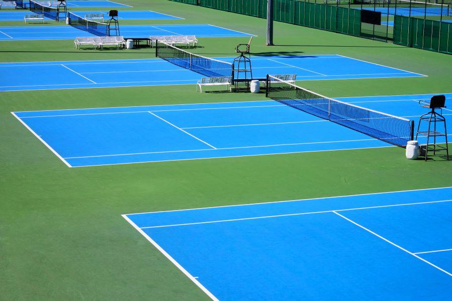 blue hardcourt tennis courts